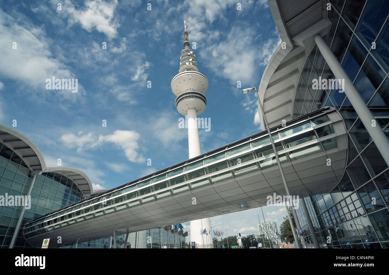 Panoramic View to Hamburg TV Tower and Expo  Building - Stock Image