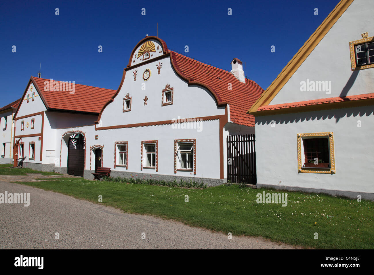 facade of houses at historical village of  Holasovice Ceske Budejovice Czech Republic, Europe. Photo by Willy Matheisl - Stock Image