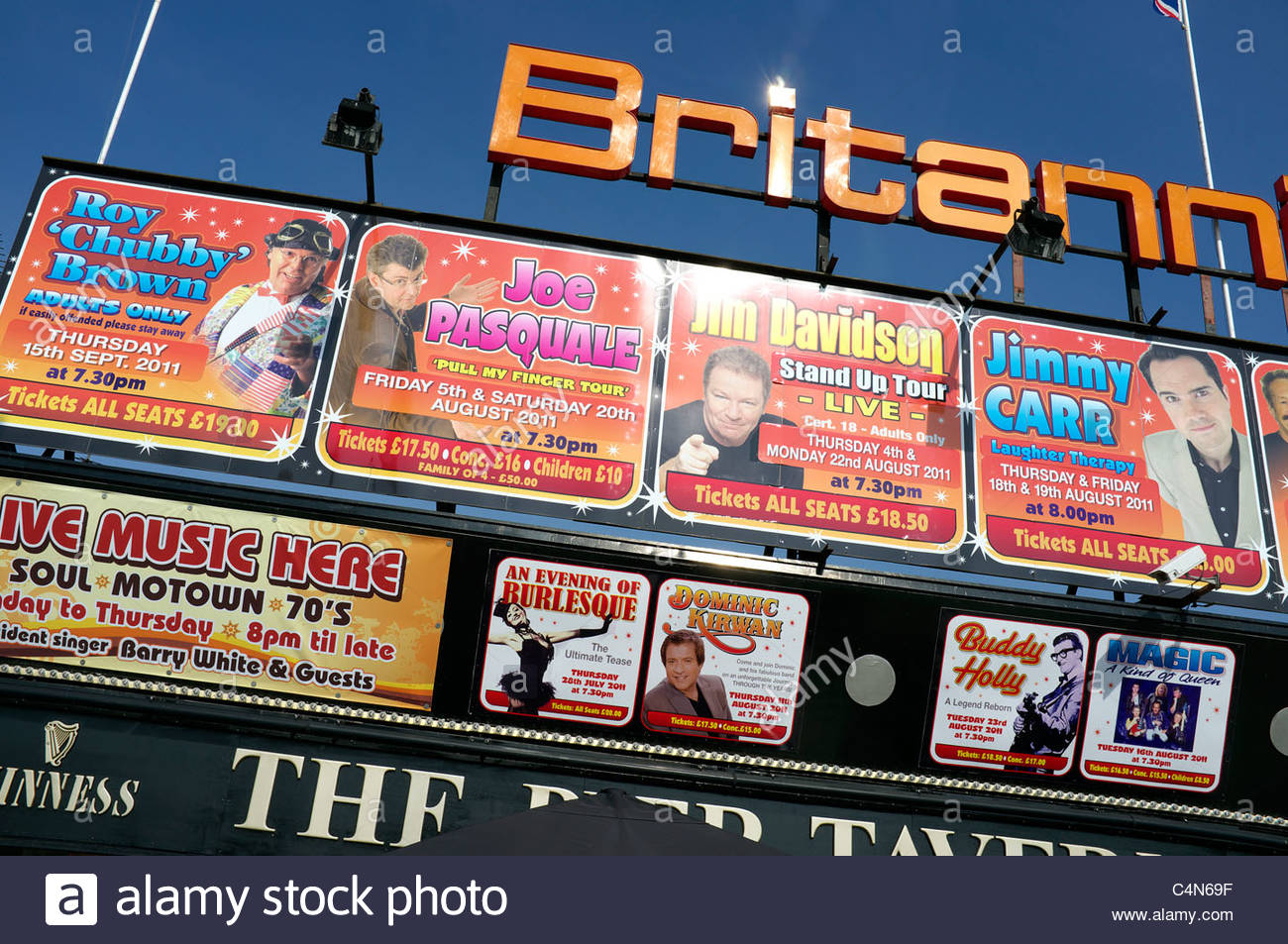 Advertising hoarding for seaside entertainment evening shows in Great Yarmouth, Norfolk, UK. - Stock Image