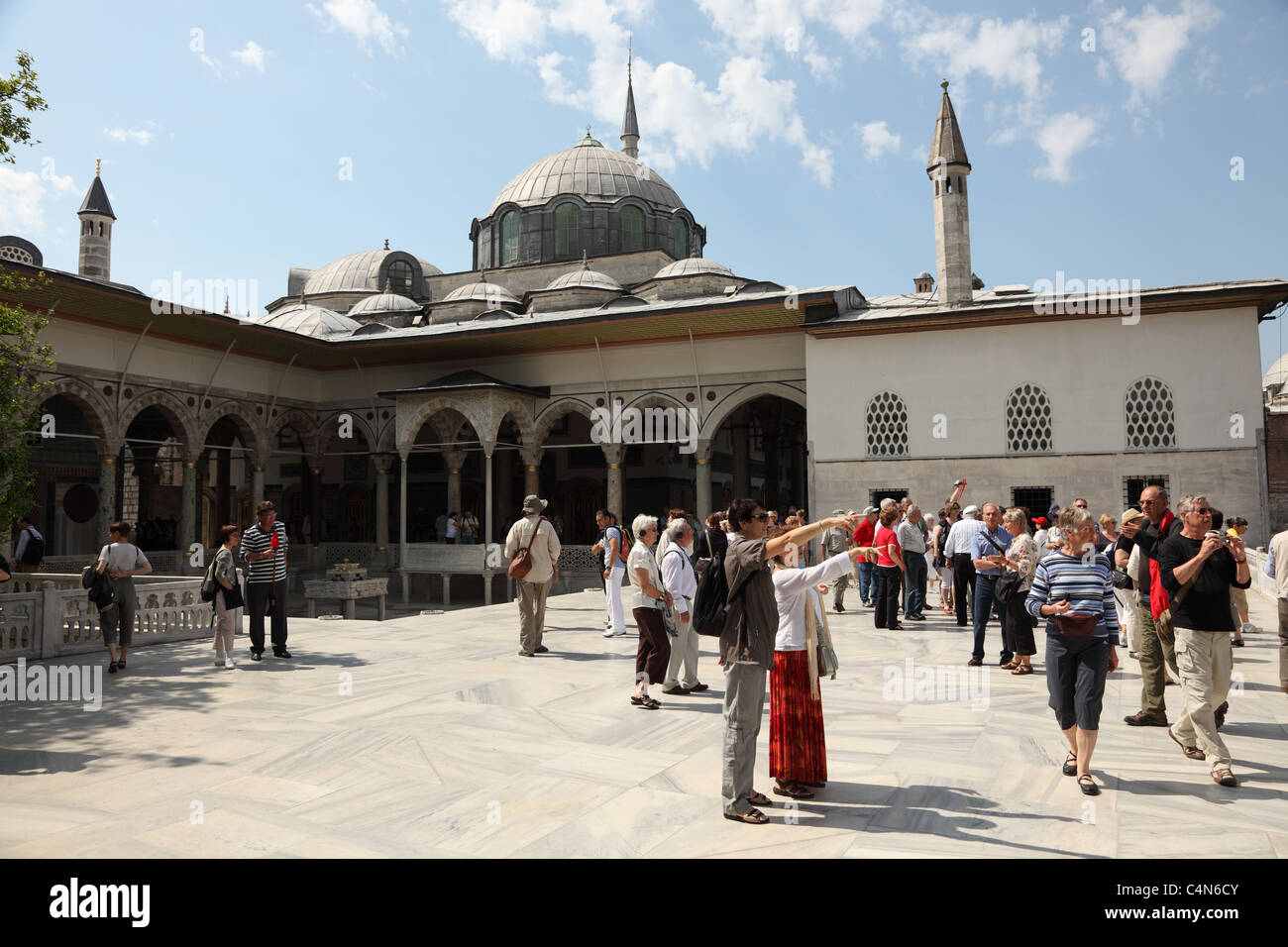Tourists inside of the Topkapi Palace, Istanbul Turkey. Photo taken at 25th of Mai 2011 - Stock Image