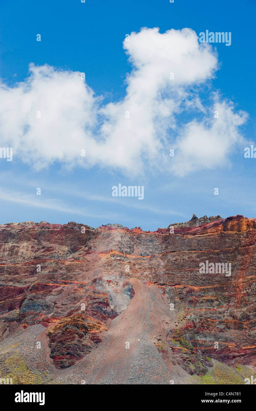 Colorful volcanic rocks, Las Desertas Islands, Madeira, Protected dry islands - Stock Image