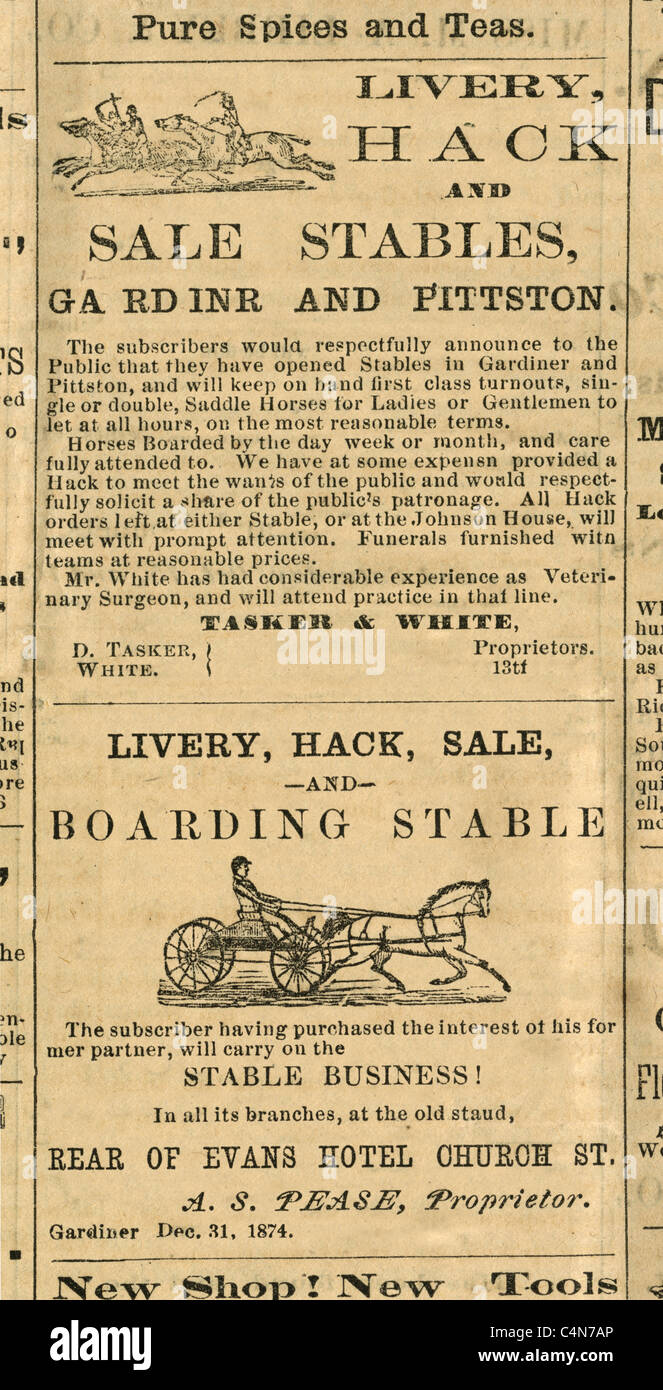 1875 engravings or two Livery Hack Stables advertisements from the Kennebec Reporter of Gardiner, Maine, USA. - Stock Image