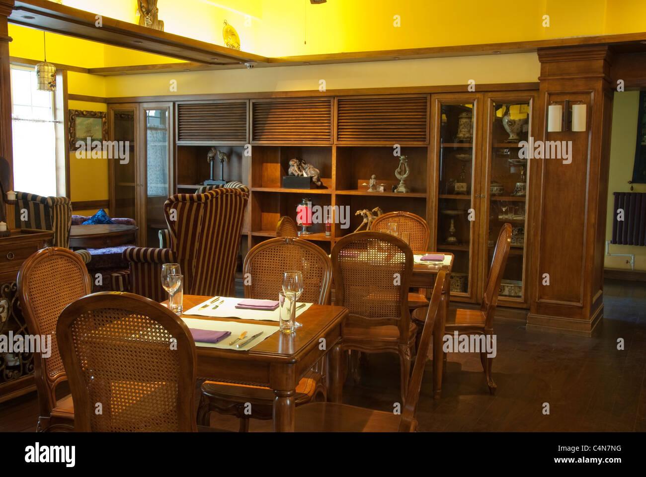 Beijing, China, Asian Restaurant Tabel inside Dining Room Stock Photo