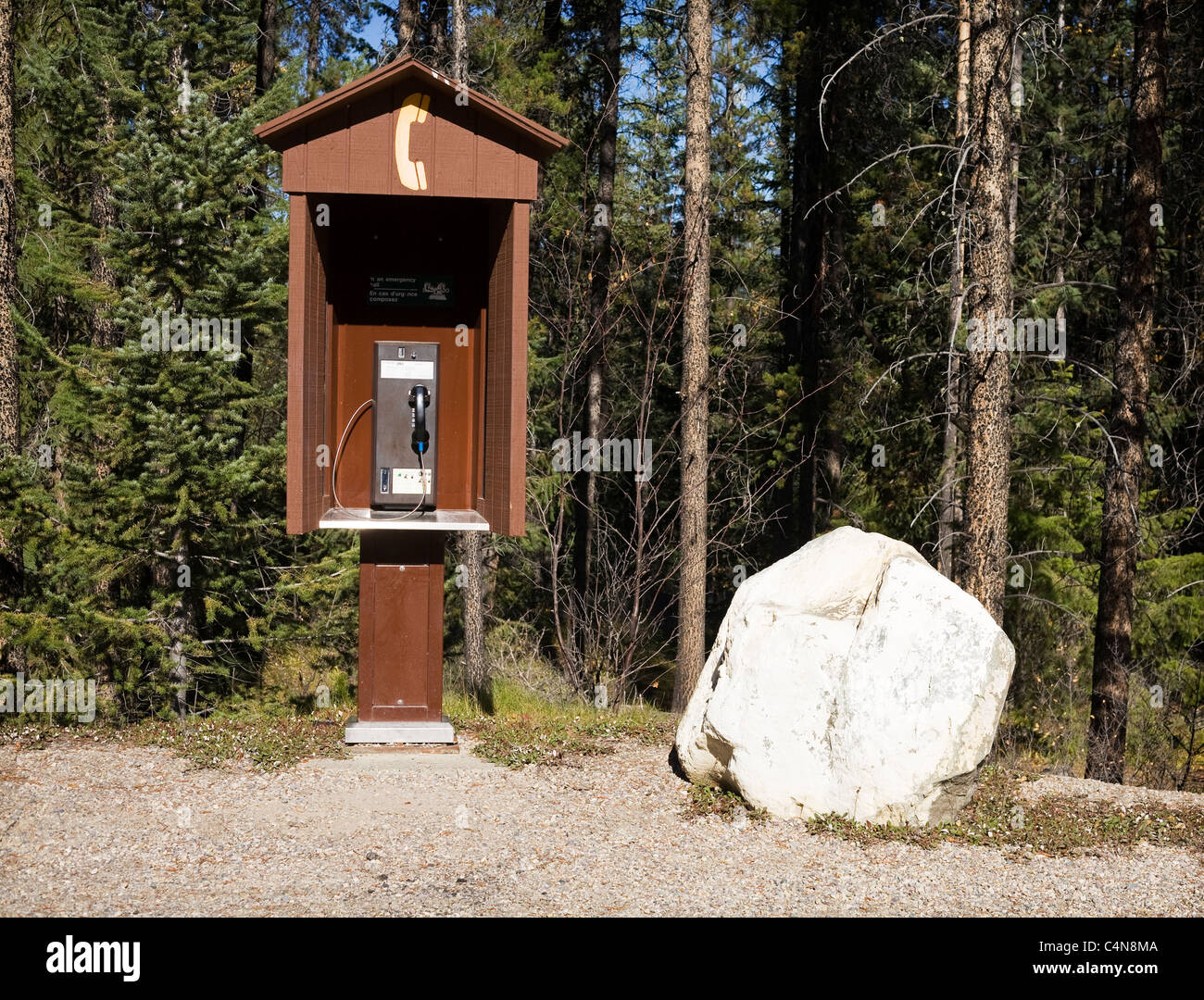 Outdoor pay phone near hiking trail, Jasper National Park, Alberta, Canada. - Stock Image
