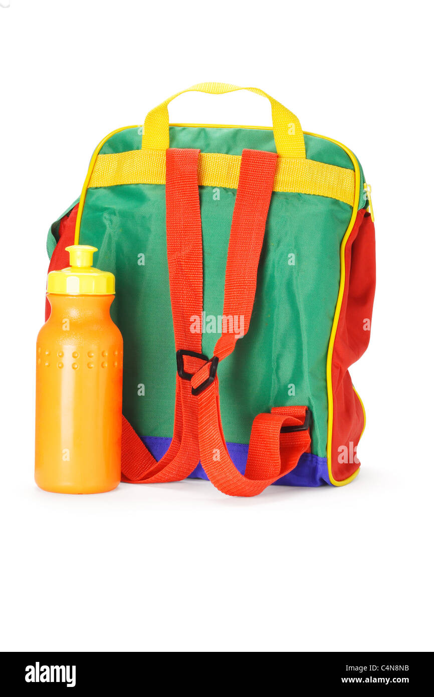 Colorful preschooler backpack and plastic water container on white background - Stock Image