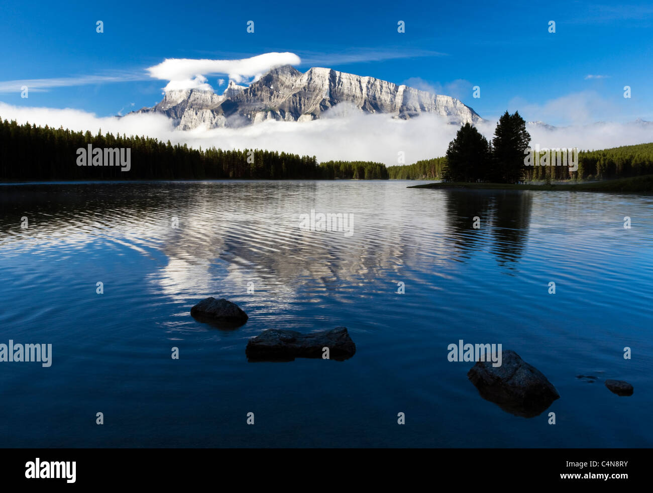 Two Jack Lake with Mount Rundle, Banff National Park, Alberta, Canada. Stock Photo