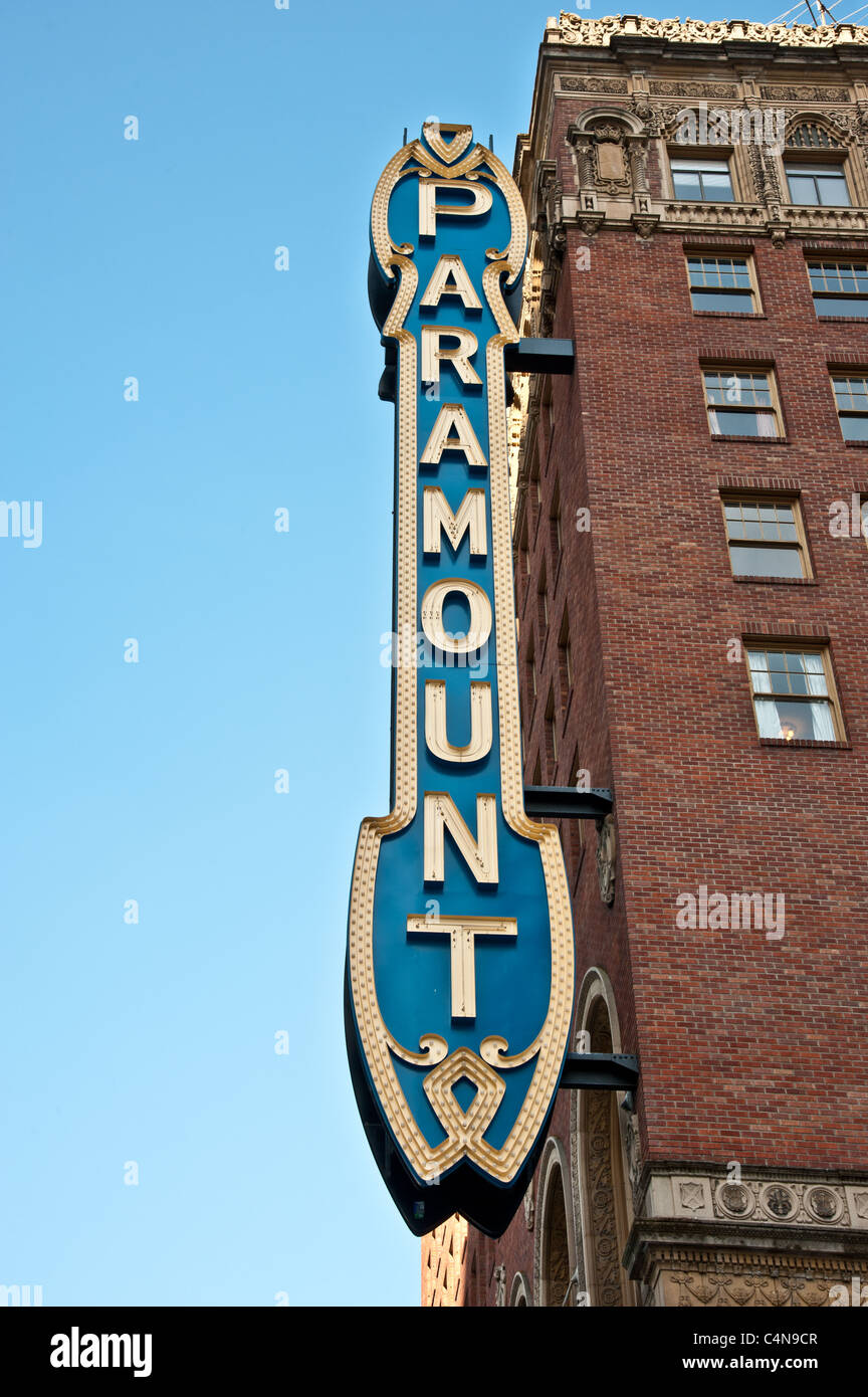 Sign of the historic Paramount Theater at downtown Seattle - Stock Image