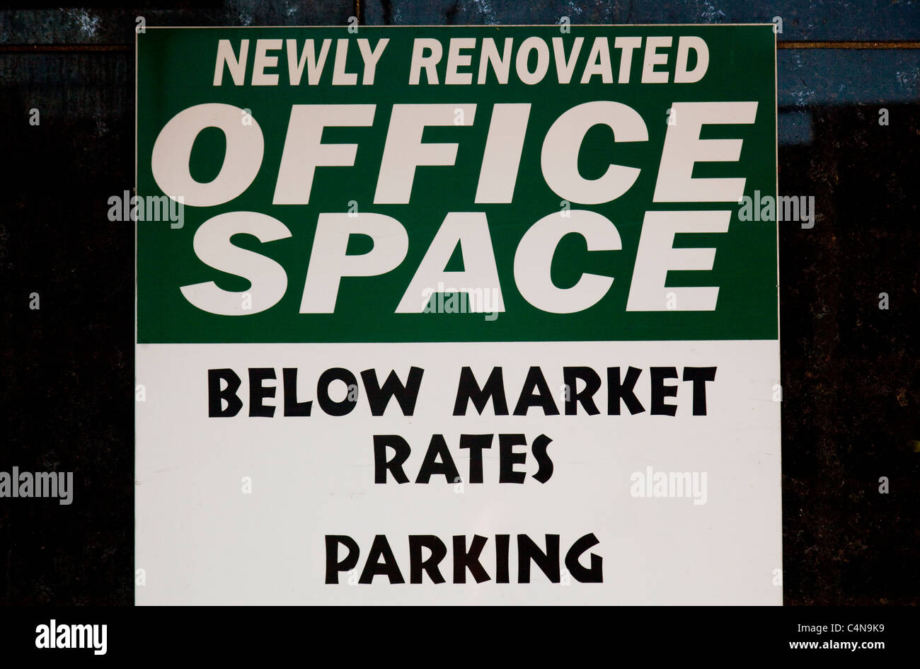 newly renovated office space sign - Stock Image