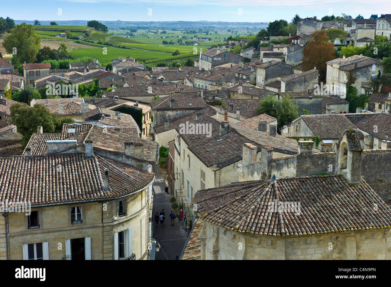 Rooftops of St Emilion in the Bordeaux region of France - Stock Image