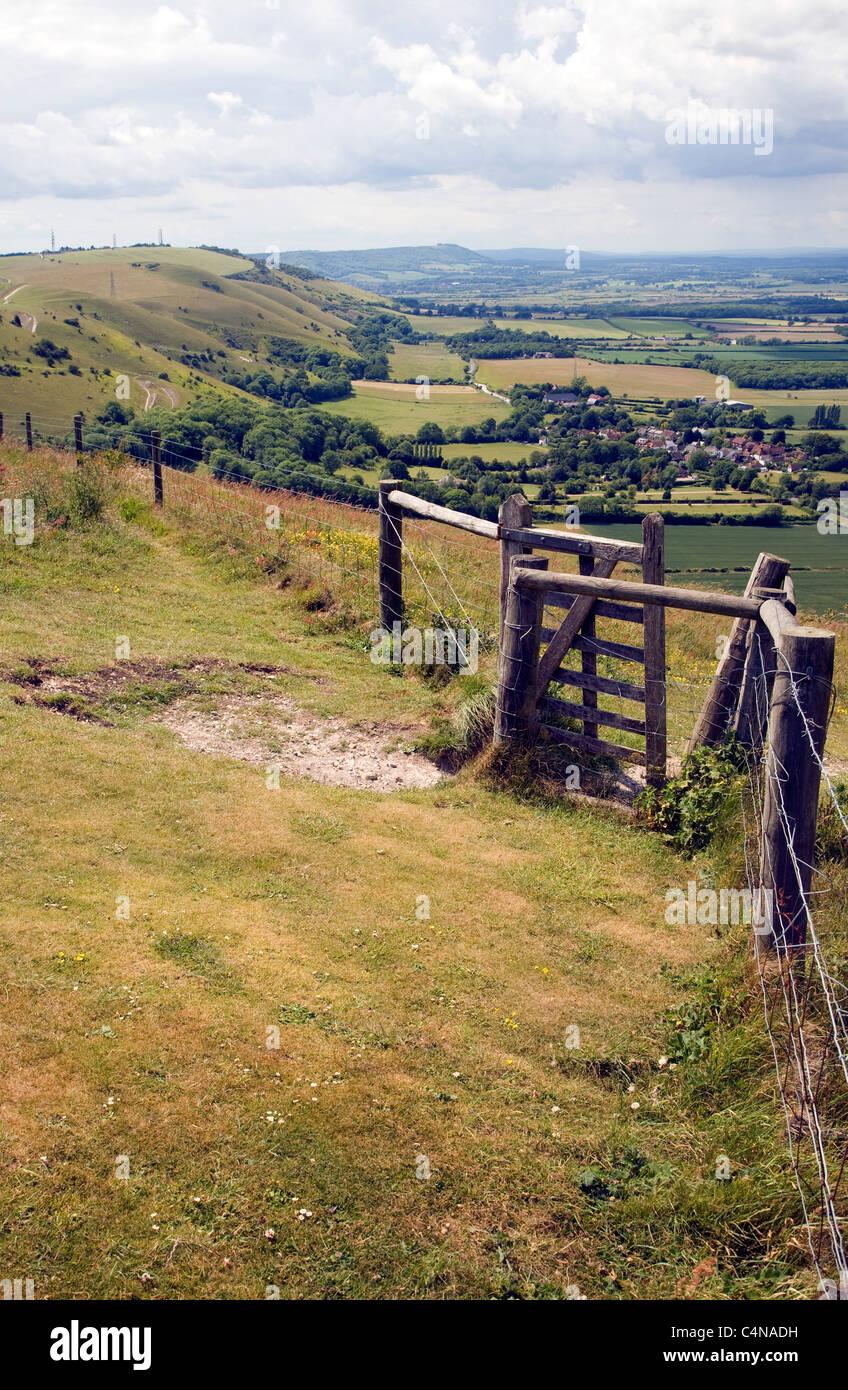 View west along chalk escarpment near Fulking, West Sussex, England - Stock Image
