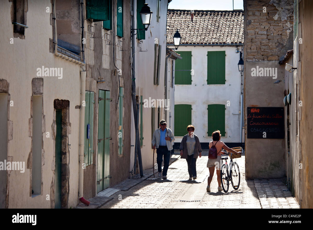 Street scene in La Flotte, Ile de Re, France - Stock Image