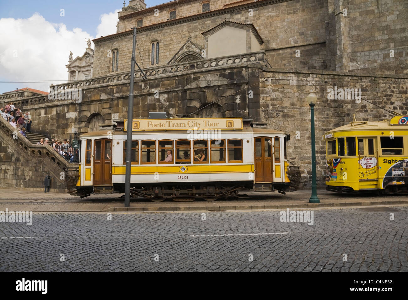 Sightseeing trolley cars in Porto, Portugal - Stock Image