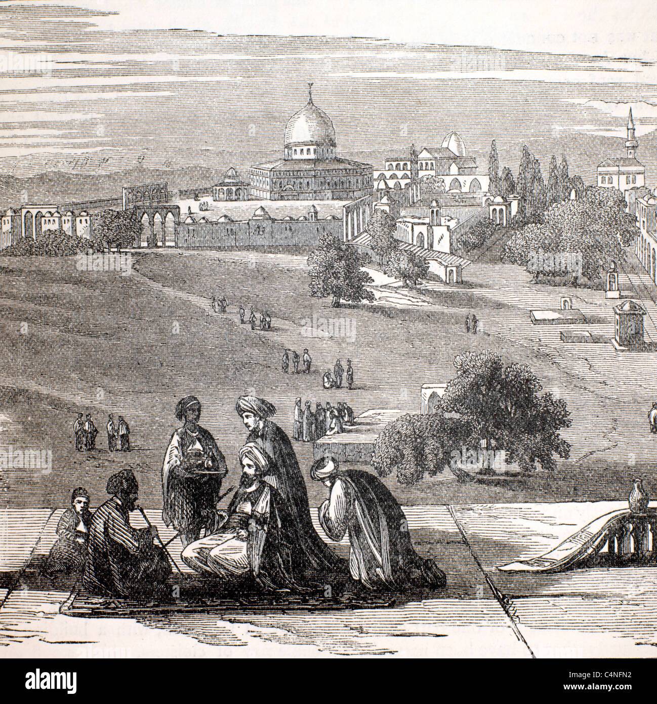 site of solomans temple Holy land wood engraving Stock Photo