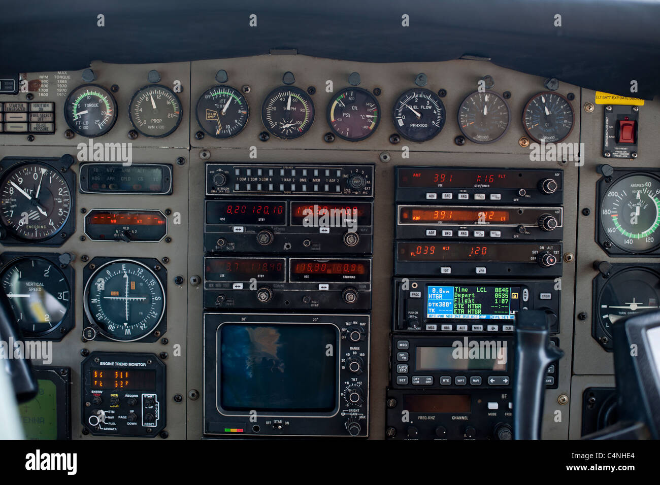 Close-up of old cockpit control panel of airplane - Stock Image