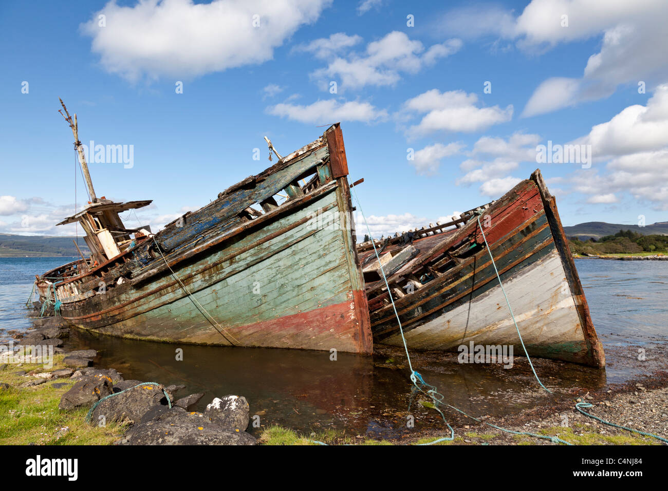 Abandoned fishing boats, Salen Aros, Mull, Scotland - Stock Image