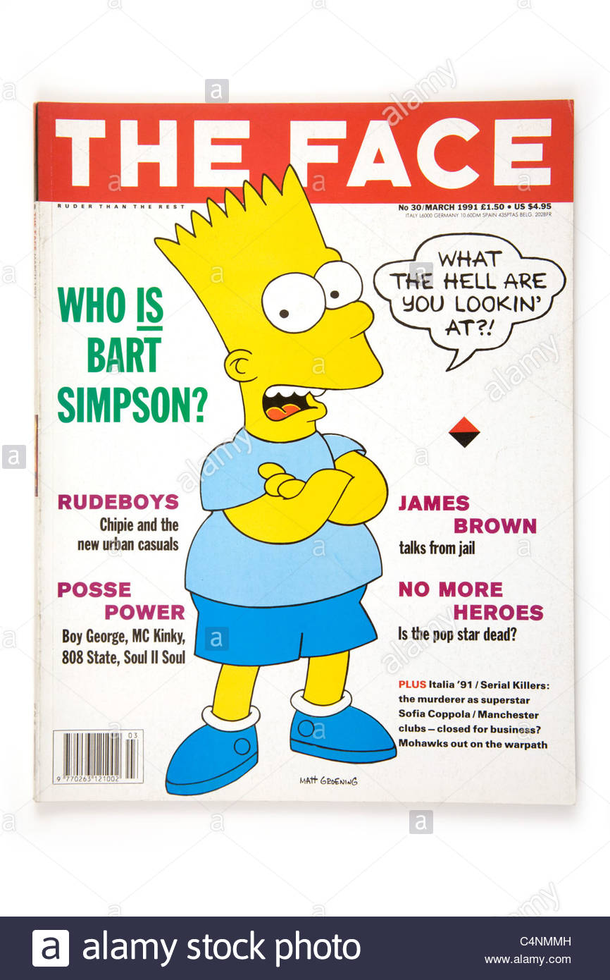 The Face magazine No 30 March 1991 with Bart Simpson. - Stock Image