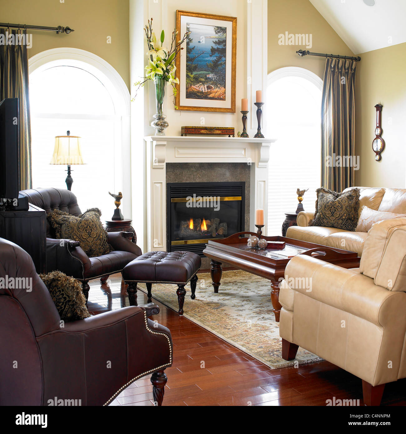 Contemporary Living Room With Leather Furniture And Fireplace Stock Photo Alamy