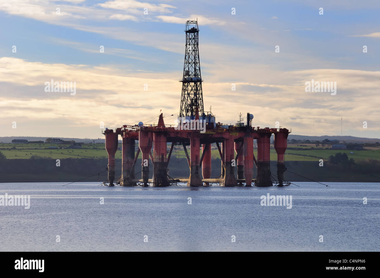 Oil / Gas drilling platform on the Cromarty Firth, Scotland, UK - Stock Image
