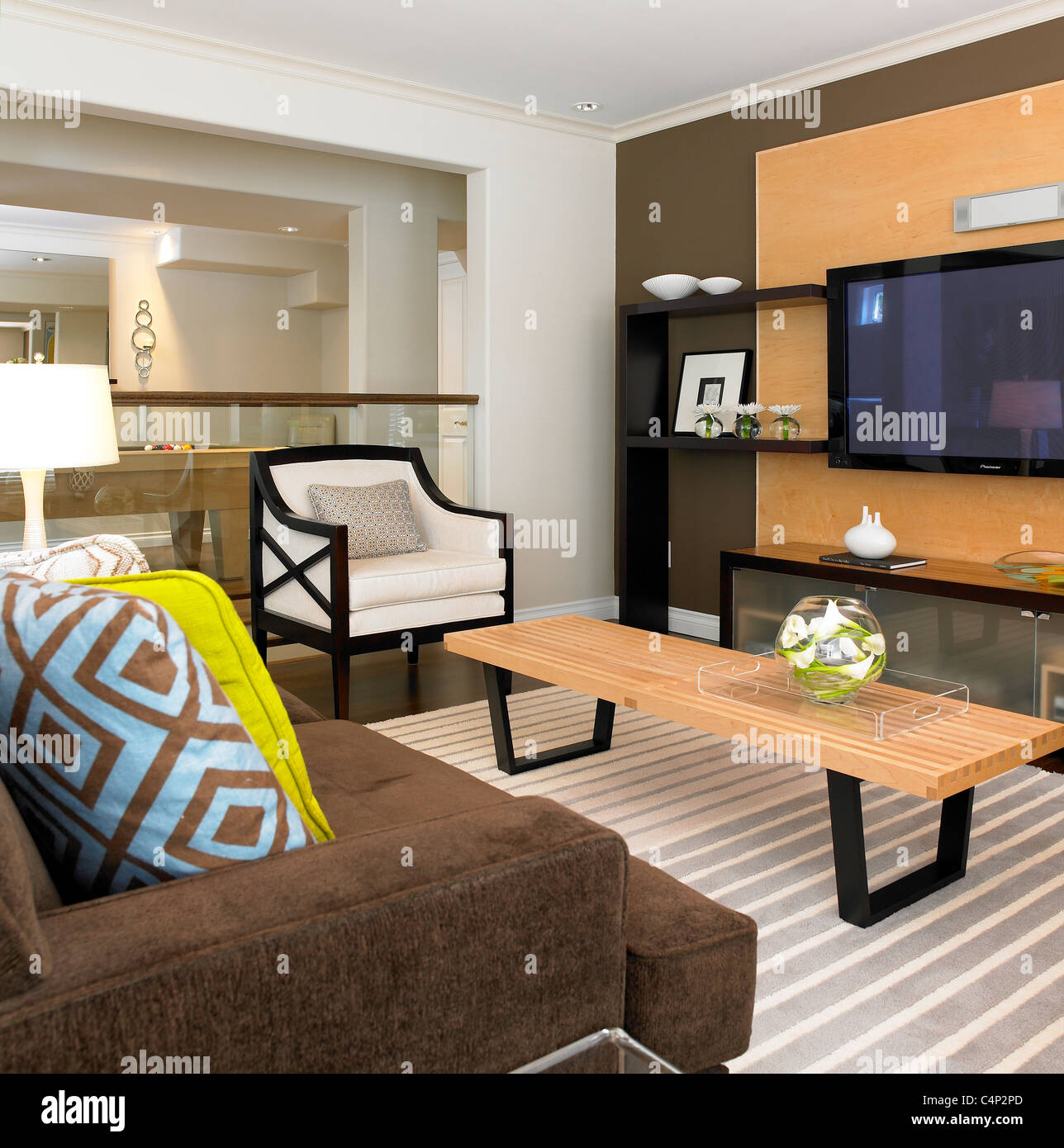 Modern living room with striped rug and geometric pillows victoria vancouver island b c canada