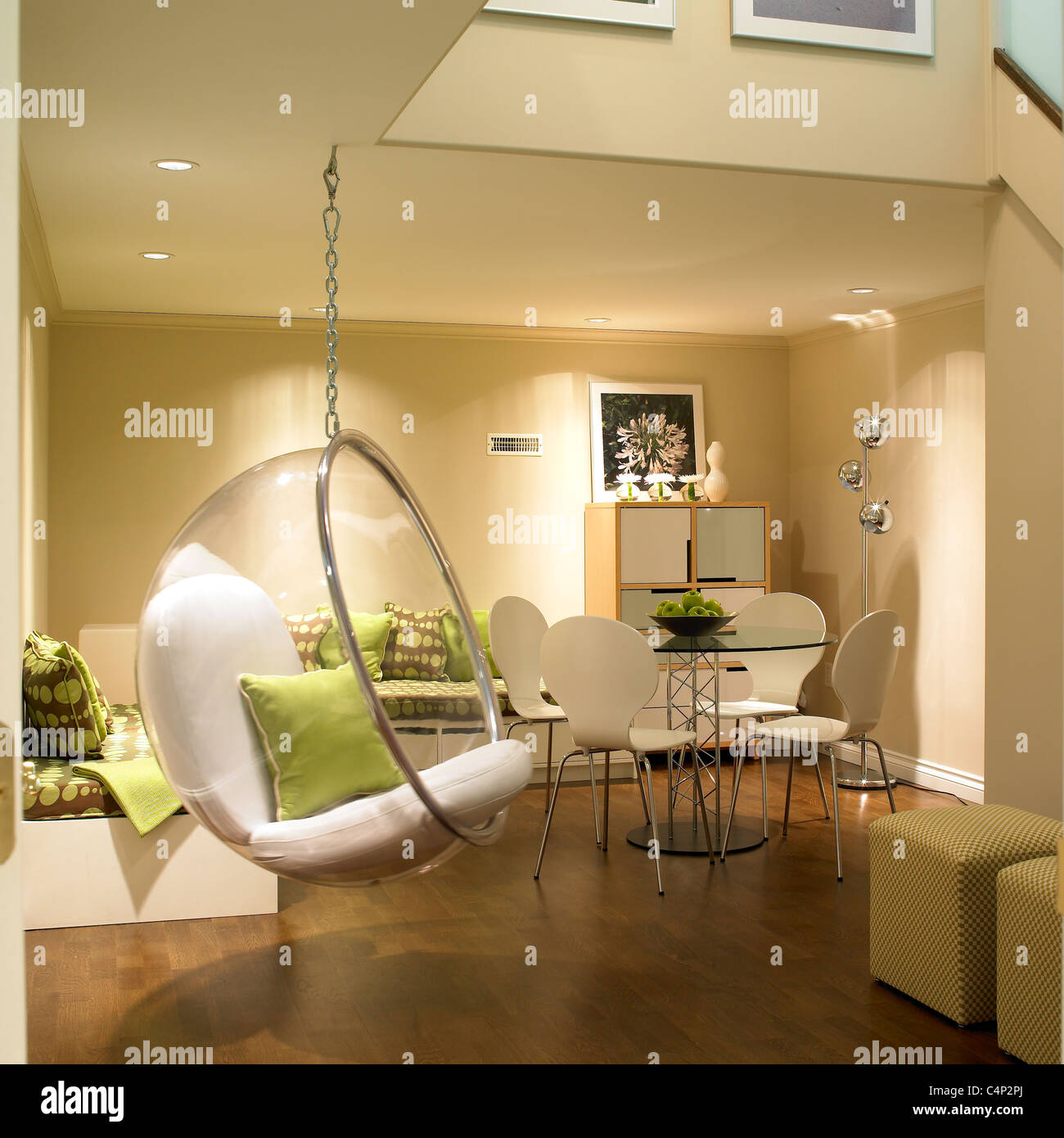 Finished basement with bubble hanging chair and contemporary furniture Victoria Vancouver Island B.C. Canada & Finished basement with bubble hanging chair and contemporary Stock ...