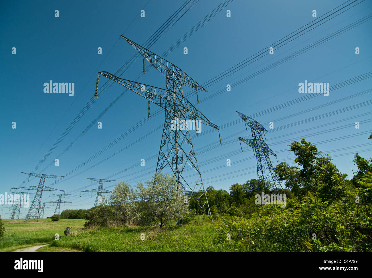 A long line of electrical transmission towers carrying high voltage lines. - Stock Image
