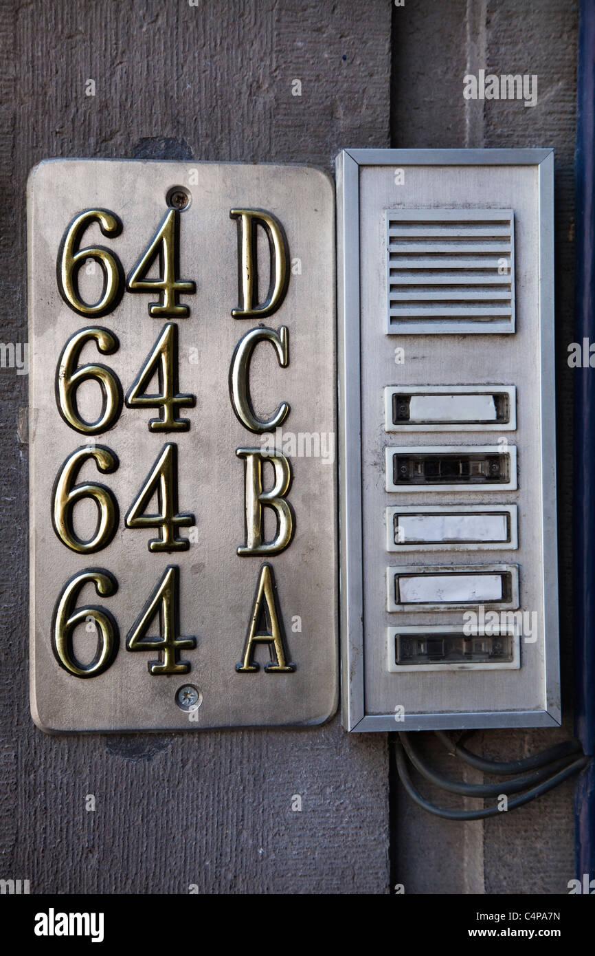 Apartment Numbers And Door Buzzer