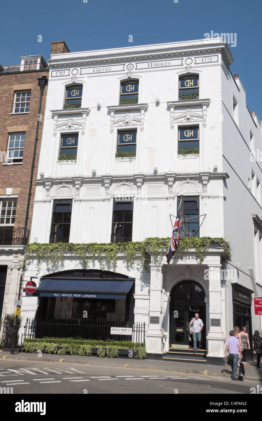 The Gieves & Hawkes shop on 1 Saville Row, London, UK. - Stock Image