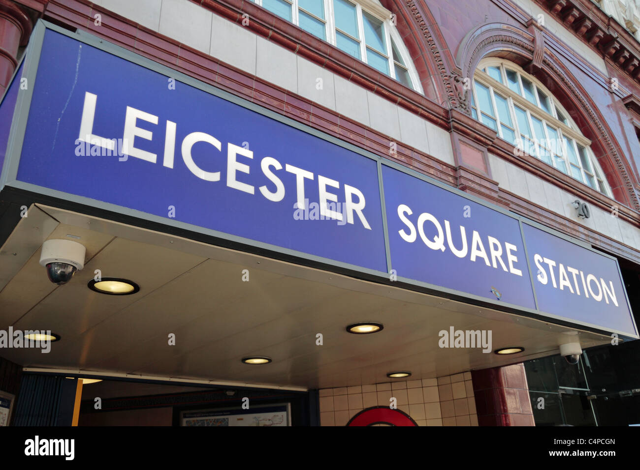 Entrance to the Leicester Square Tube station in Central London, UK. - Stock Image