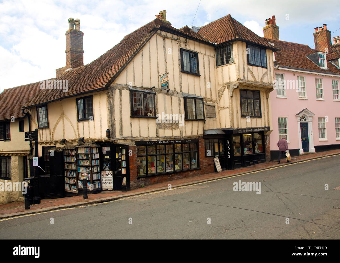 Fifteenth century bookshop, Lewes, East Sussex, England - Stock Image