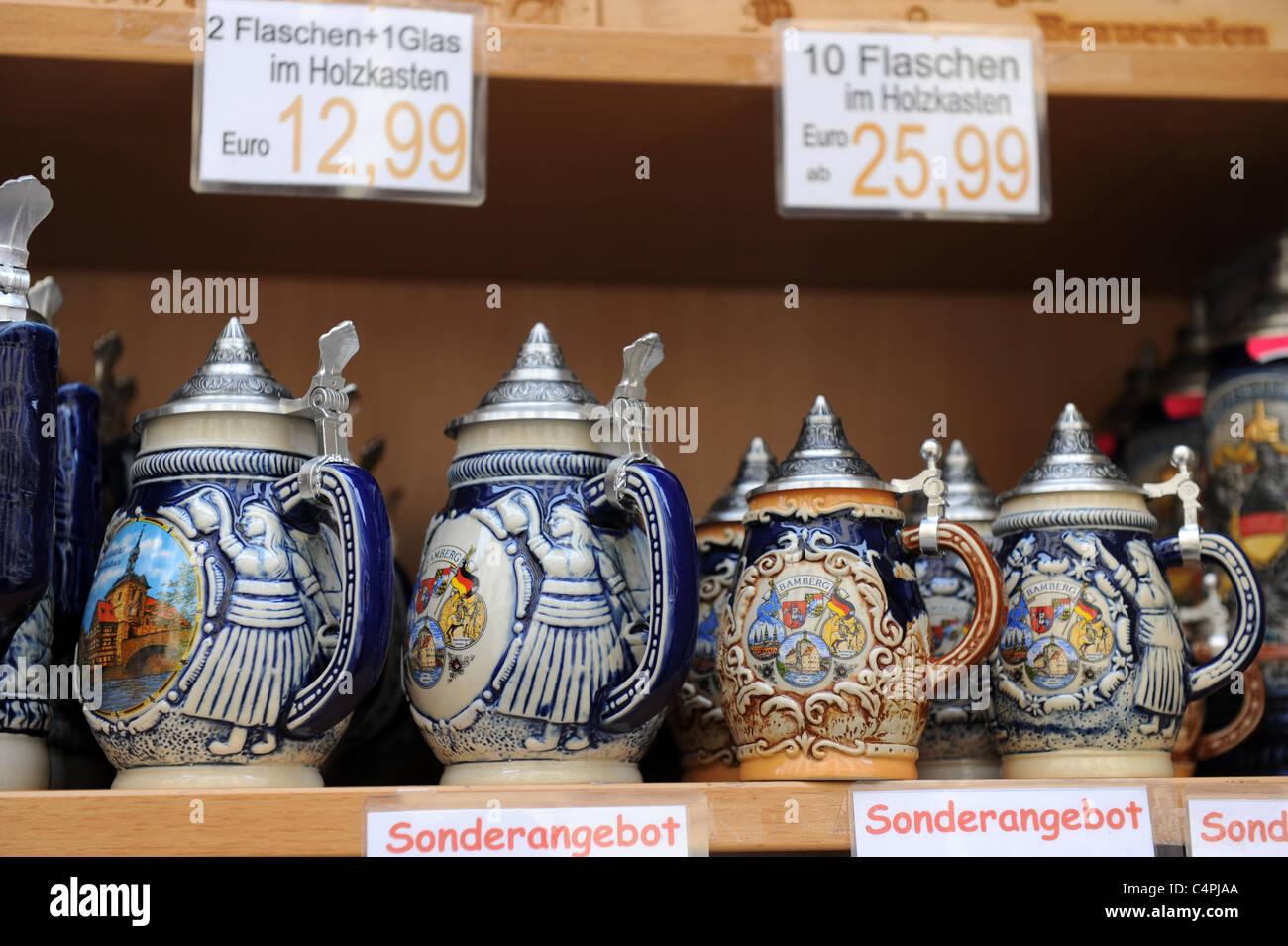 Beer mugs Bamberg Bavaria Germany Deutschland - Stock Image