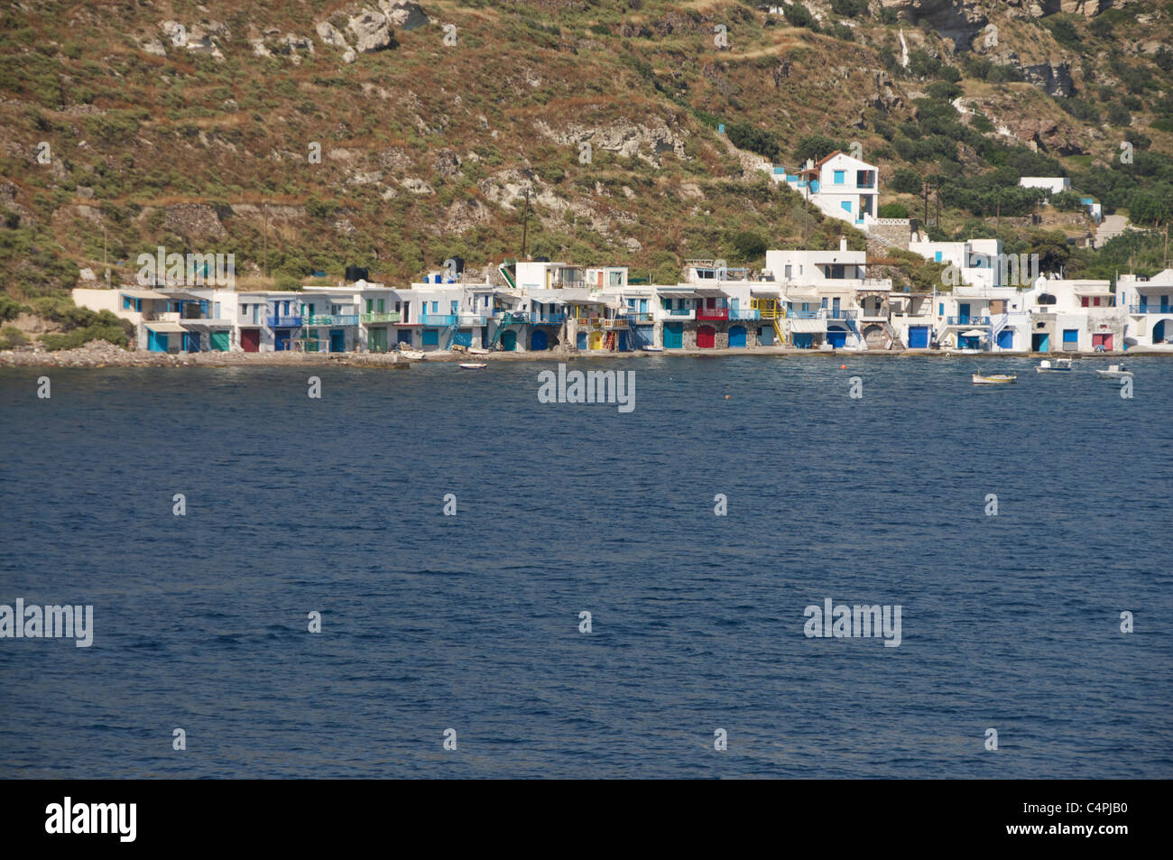 Brightly painted fishermen's houses in Klima fishing village on the Cycladic Island of Milos in Greece - Stock Image