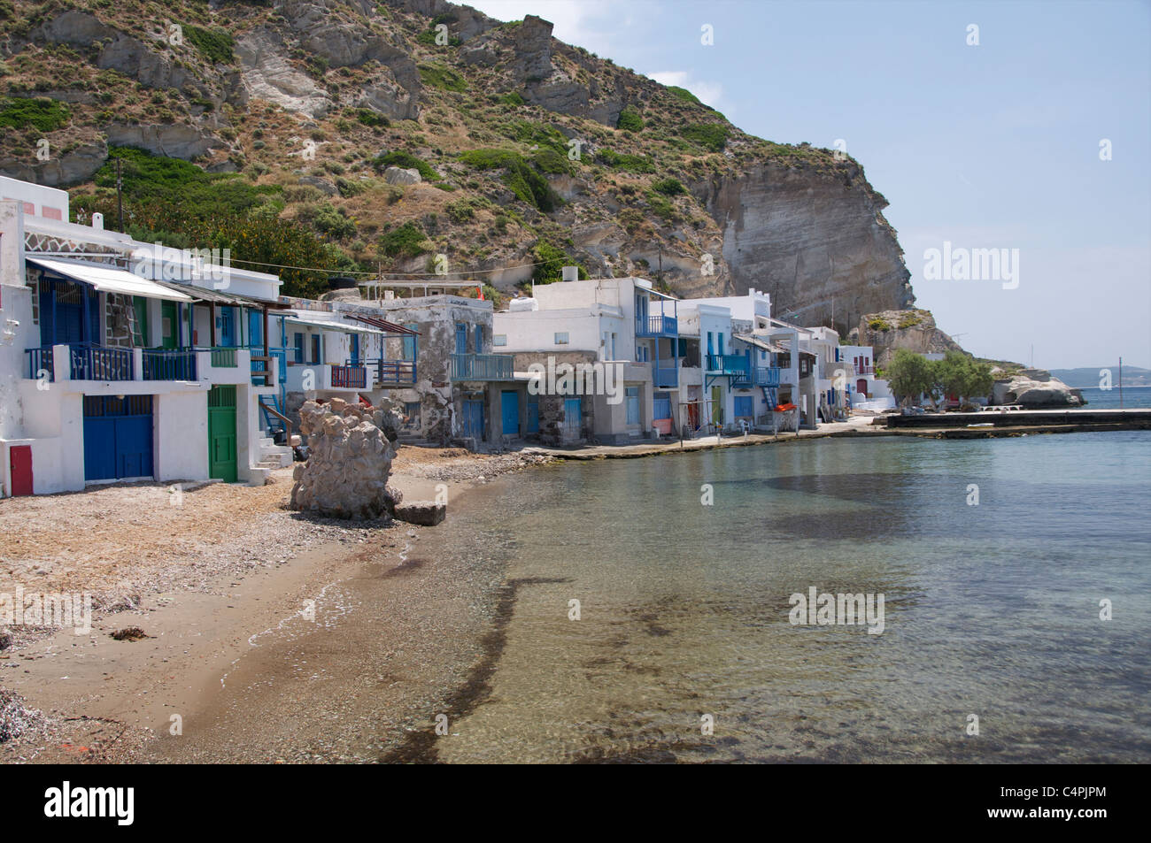 Brightly painted fishermen's houses in Klima,a traditional fishing village on the Cycladic Island Milos Greece - Stock Image