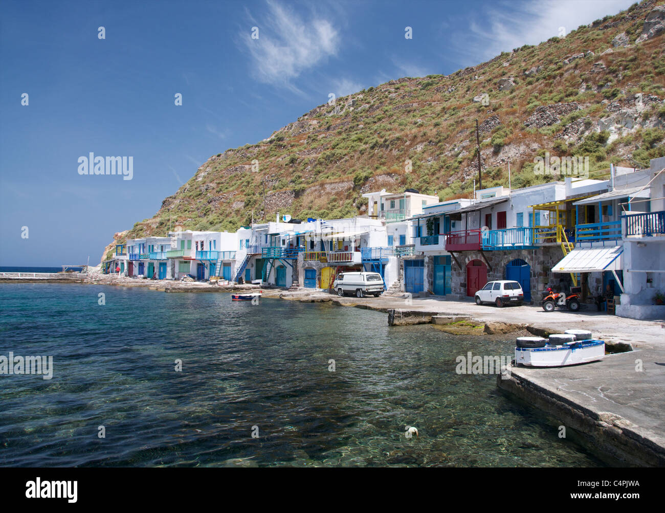 colorful fishermen's houses in Klima on the Cycladic Island of Milos in Greece Stock Photo