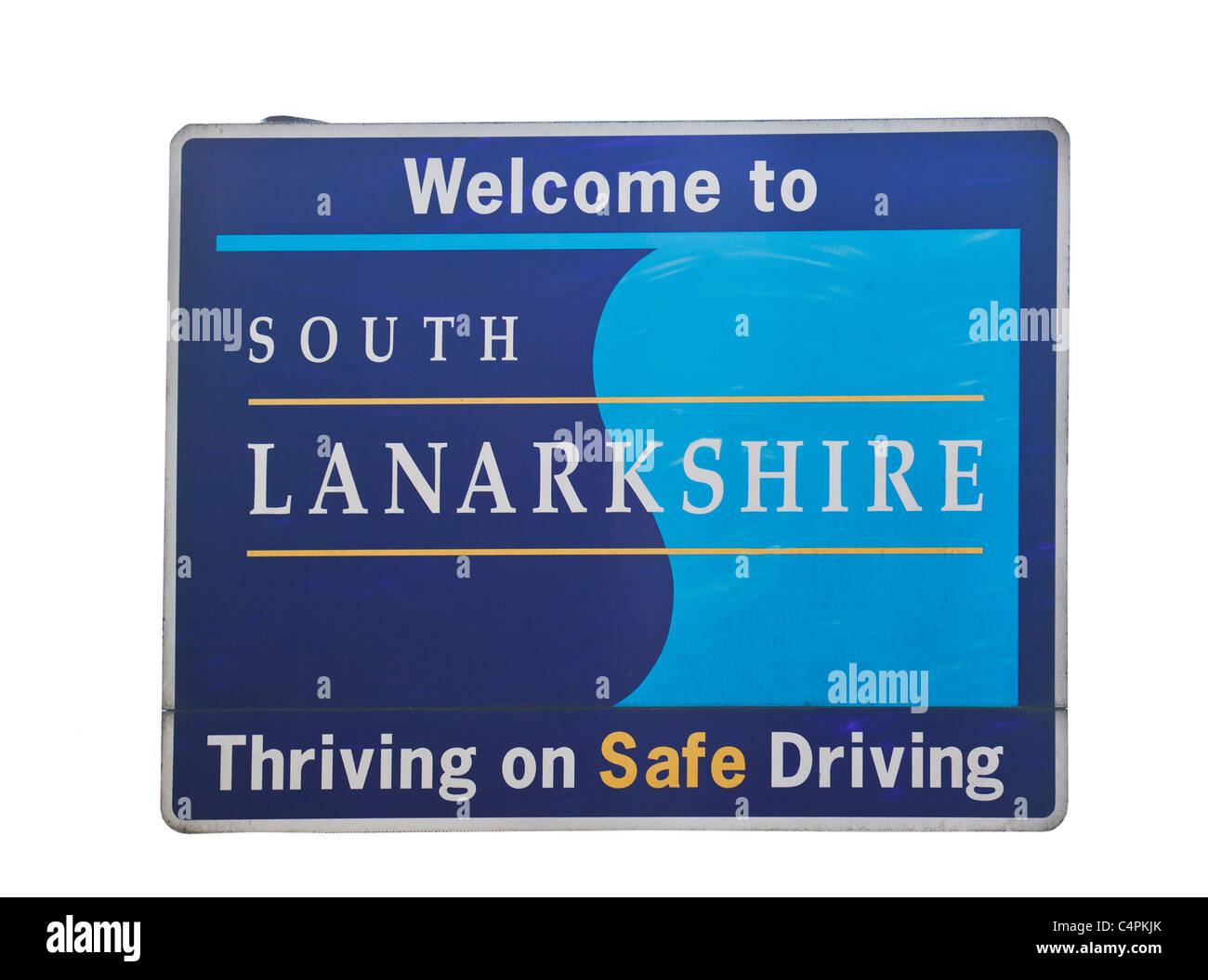Sign on road entries to South Lanarkshire, Scotland, UK - Stock Image