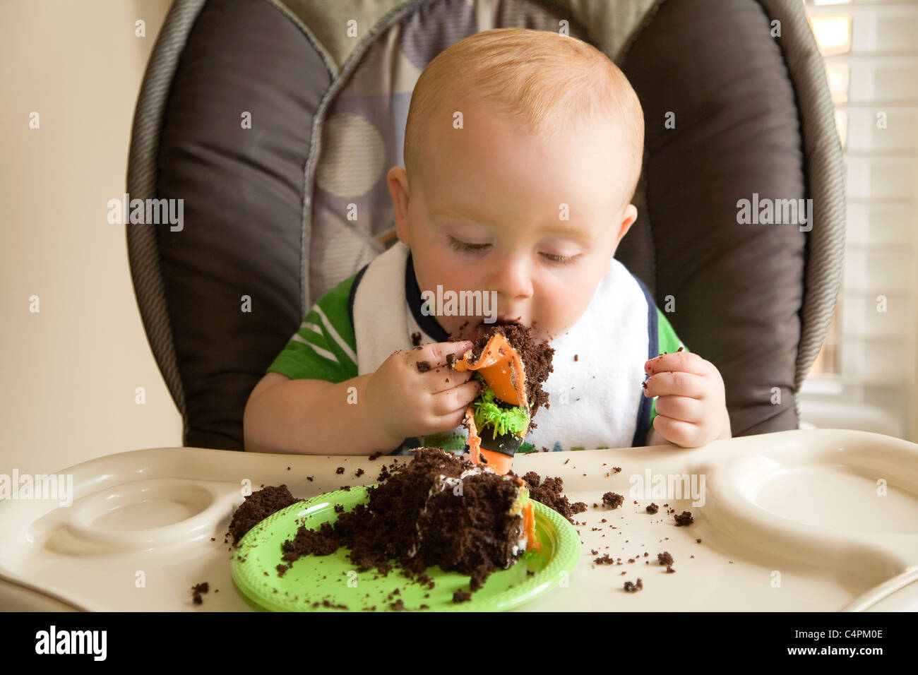 Astounding One Year Old Baby Boy Eating His First Birthday Cake Ontario Funny Birthday Cards Online Aeocydamsfinfo