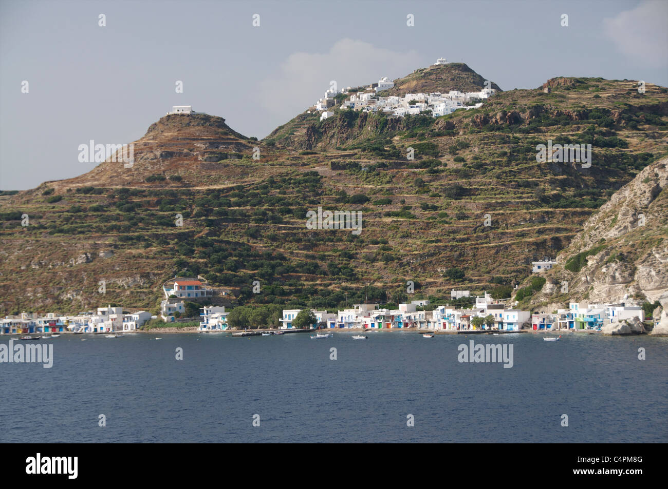 Fishing village Klima with Plaka and Kastro above on the Cycladic Island of Milos in Greece - Stock Image