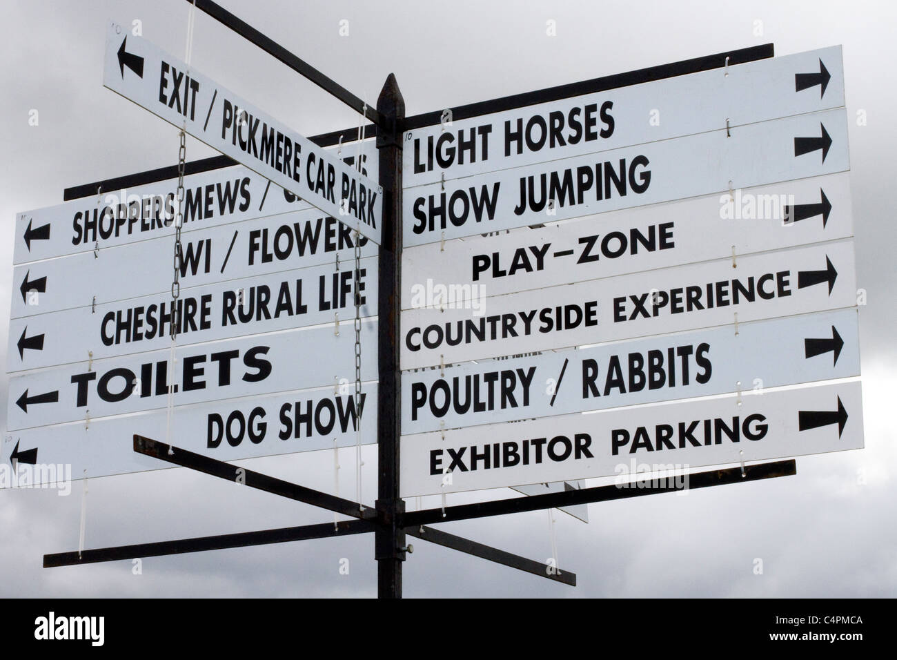 Signs and Locations for Events and Competitors at the Cheshire Game & Country Fair Show, Knutsford, UK - Stock Image