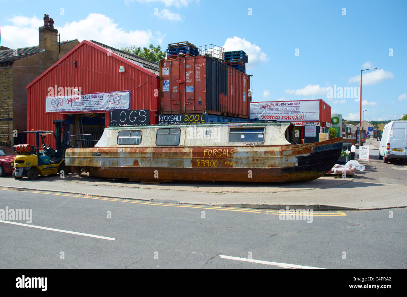 Canal barge for sale (on the street) - Stock Image