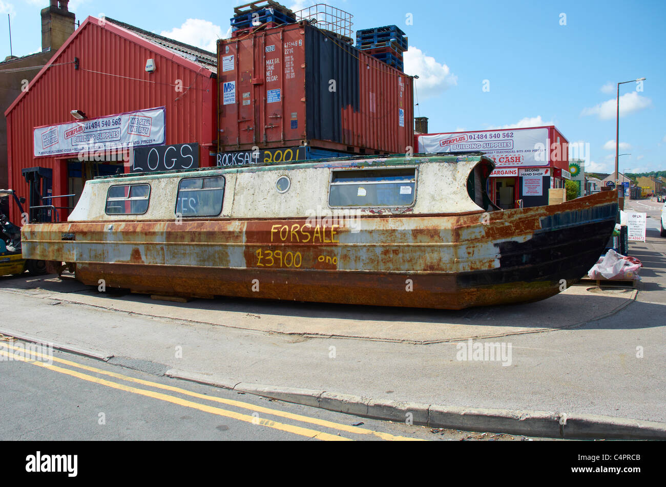Canal barge for sale (on the street) Stock Photo