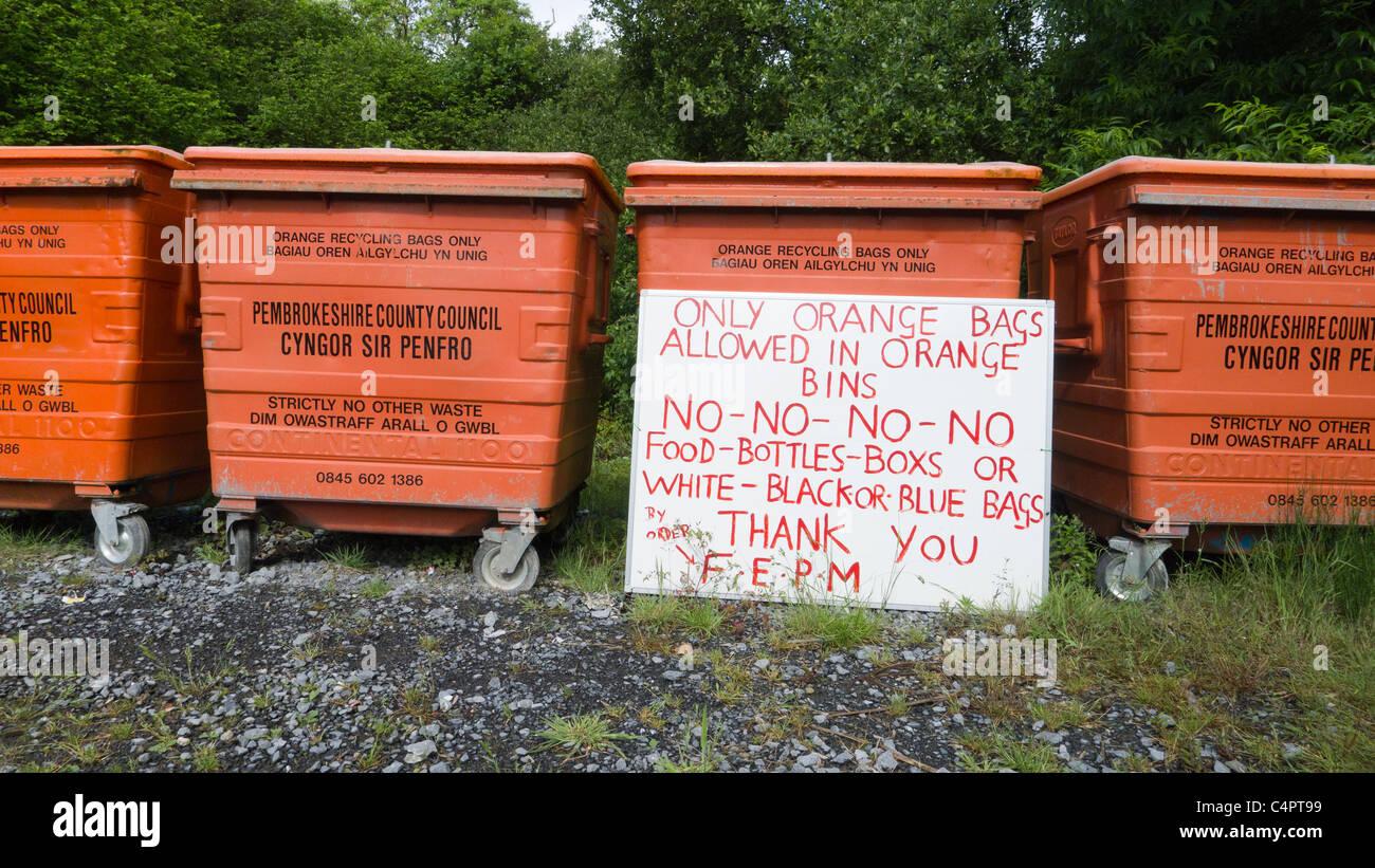Regulations on bins in Pembrokeshire - Stock Image