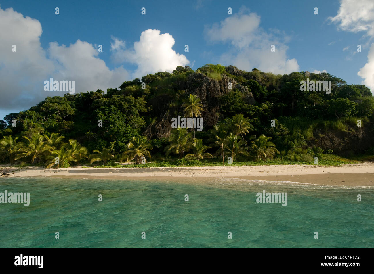 deserted tropical island in the Mamanucas archipelago Fiji South Pacific - Stock Image