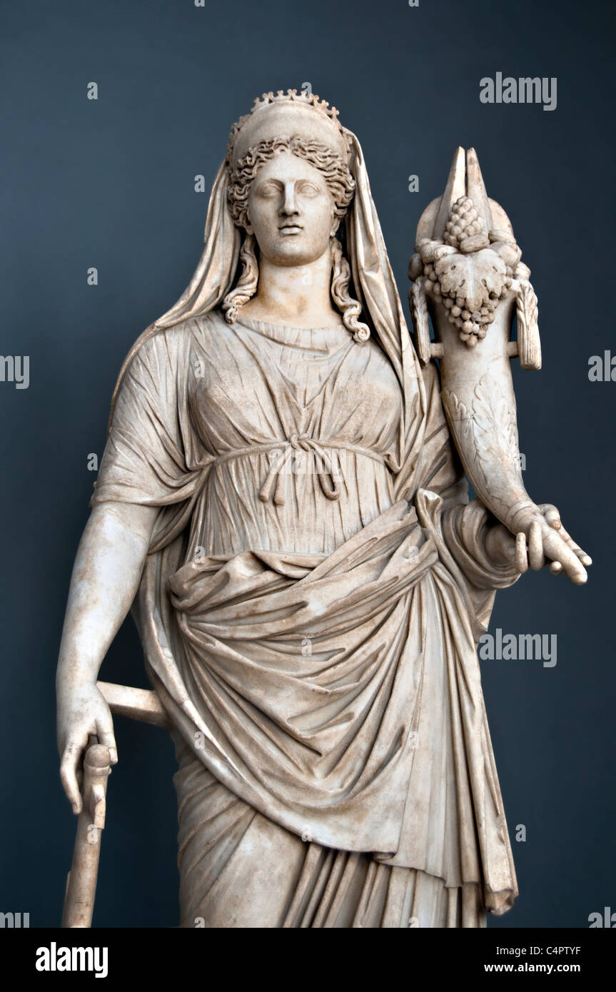 Marble statue of Fortuna- Roman goddess of the fortune and personification of good luck - Braccio Nuovo, Vatican - Stock Image