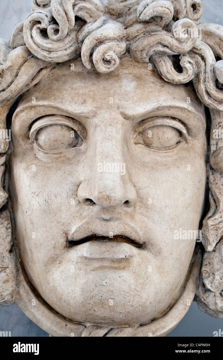 Marble head of the Gorgon Medusa Capitoline museums, Rome, Italy - Stock Image