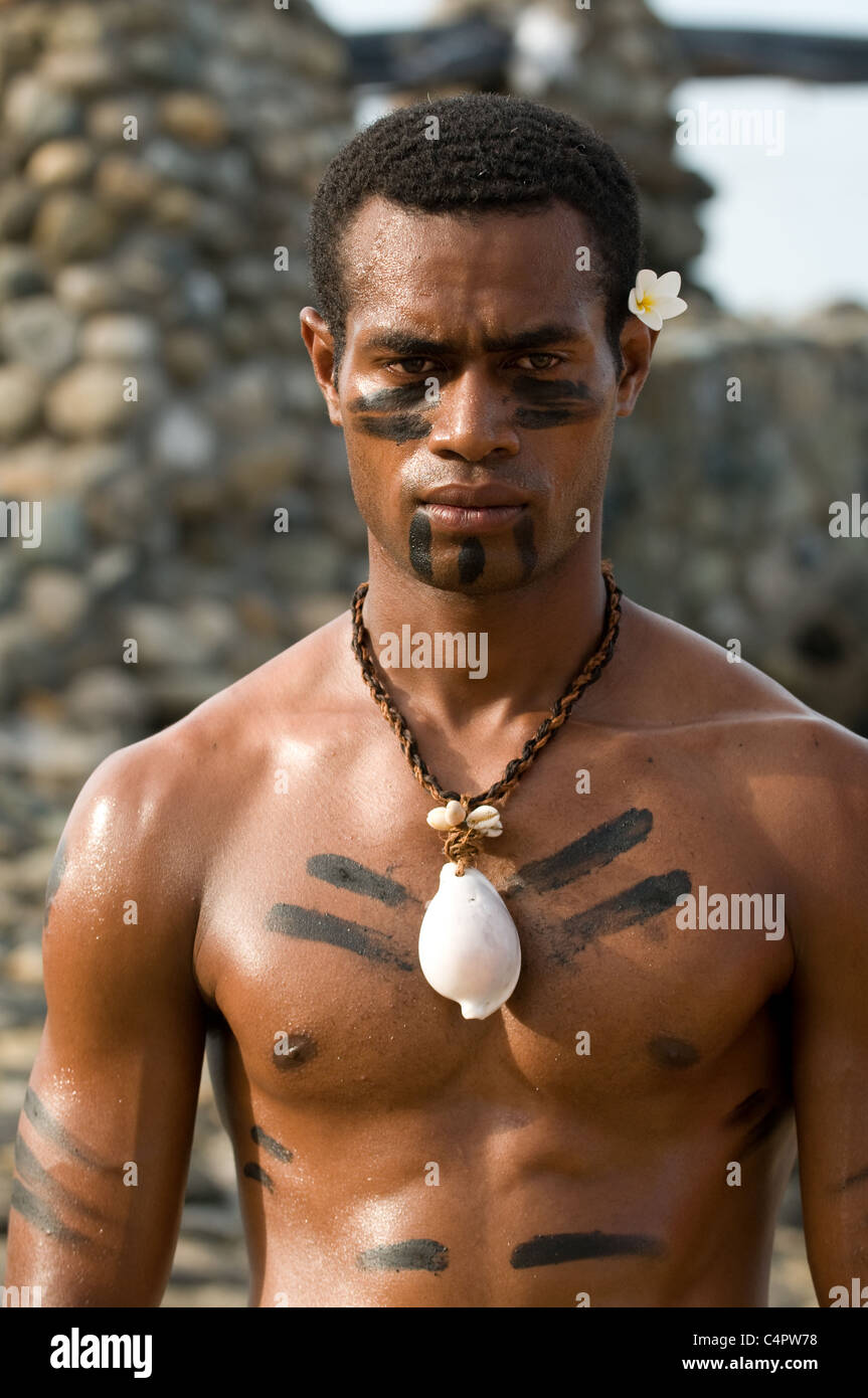Man of Fiji with traditional decorative body markings Viti Levu island Fiji - Stock Image