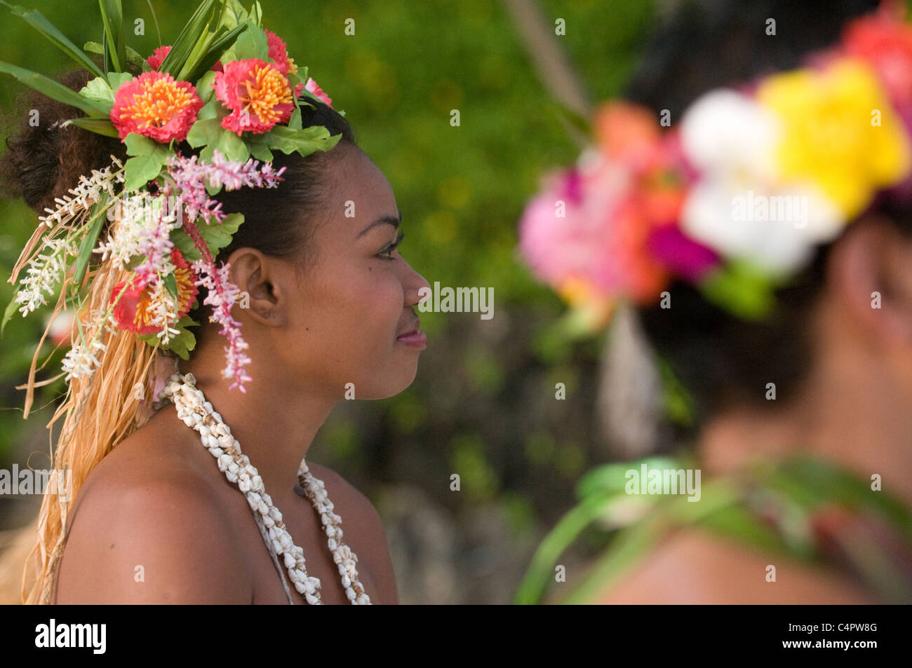 girl dancer with flowered headdress in Viti Levu Fiji South Pacific - Stock Image