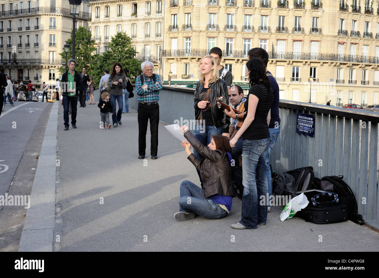 Paris France, fete de la musique paris, World Music Day in ILe Saint Louis - Stock Image