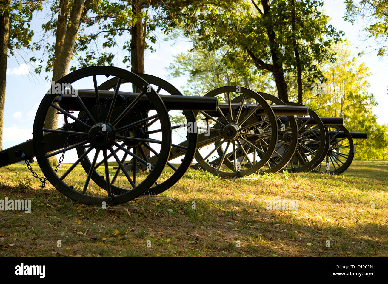 Cannons at Bolivar Heights Battlefield at Harpers Ferry, West Virginia - Stock Image