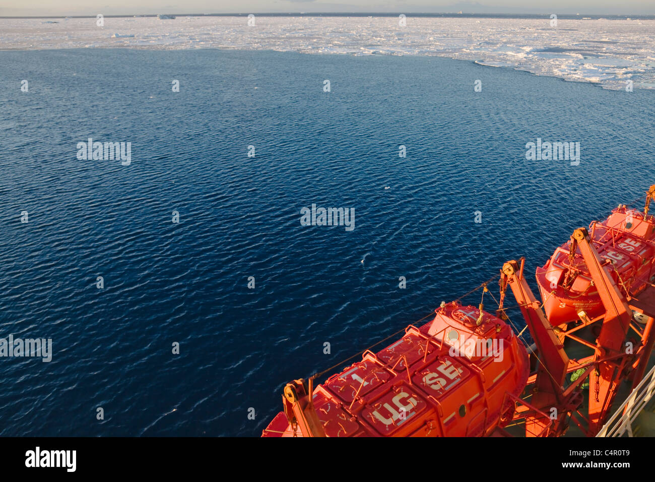Lifeboat of ship in Antarctica Stock Photo