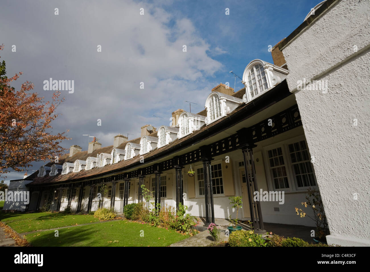 Cottages on Lower Road, Port Sunlight Village, Wirral, Cheshire, England - Stock Image