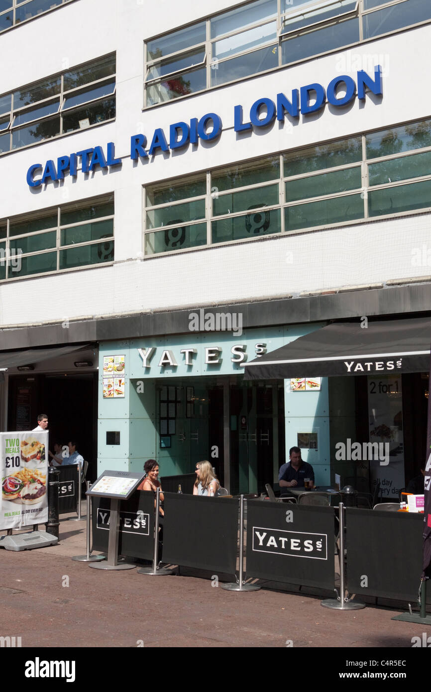 Global Radio, owners of Capital Radio, Leicester Square, London, England - Stock Image